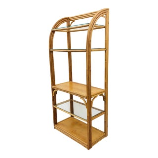 Vintage Art Deco Style Rattan & Glass Shelf For Sale
