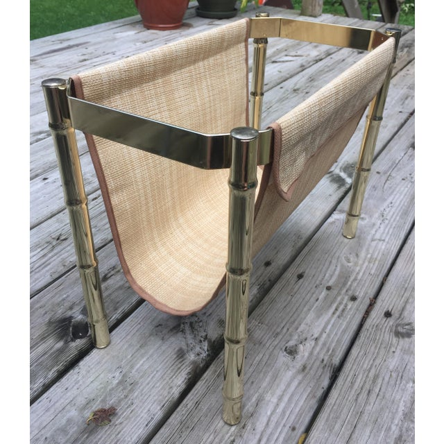 Brass Brass Faux Bamboo Magazine Rack For Sale - Image 7 of 9