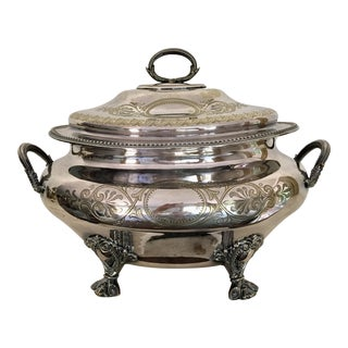 Late 19th Century Sheffield Heavy Silver Plate Soup Tureen For Sale