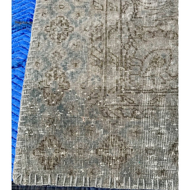 Blue 1920s Antique Turkish Distressed Rug- 6′1″ × 10′6″ For Sale - Image 8 of 12