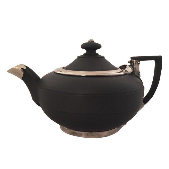 Wedgwood Sterling Silver & Black Basalt Teapot - Image 1 of 7