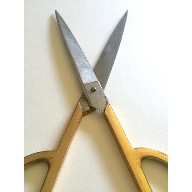Vintage Mid Century Modernist Italian Brass Handle Steel Blade Designer Scissors For Sale In Kansas City - Image 6 of 13