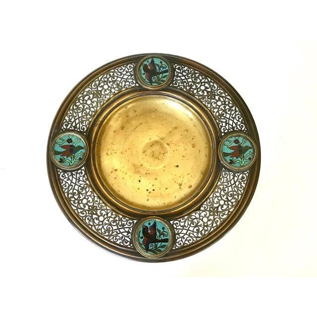 Antique Brass & Blue Bird Enamel Tazza - Image 2 of 6