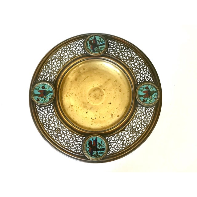 Hand crafted reticulated round form, early - mid 20th century Persian or Moorish brass tazza. A fine table center-piece,...