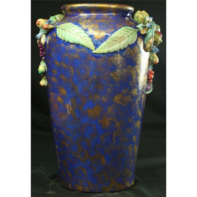 Italian Majolica Blue Ceramic Umbrella Stand Vase - Image 4 of 9