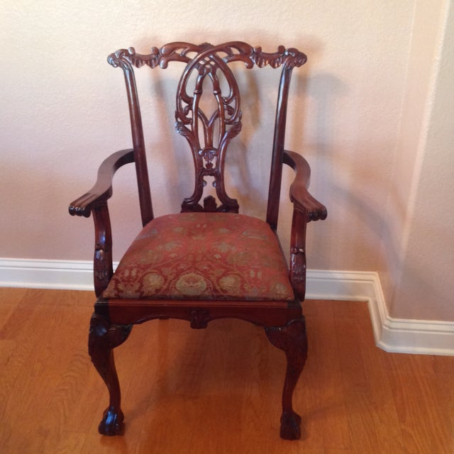 A timeless classic dining room or accent chair! This piece is solid mahogany with exquisite detailing and very well-...