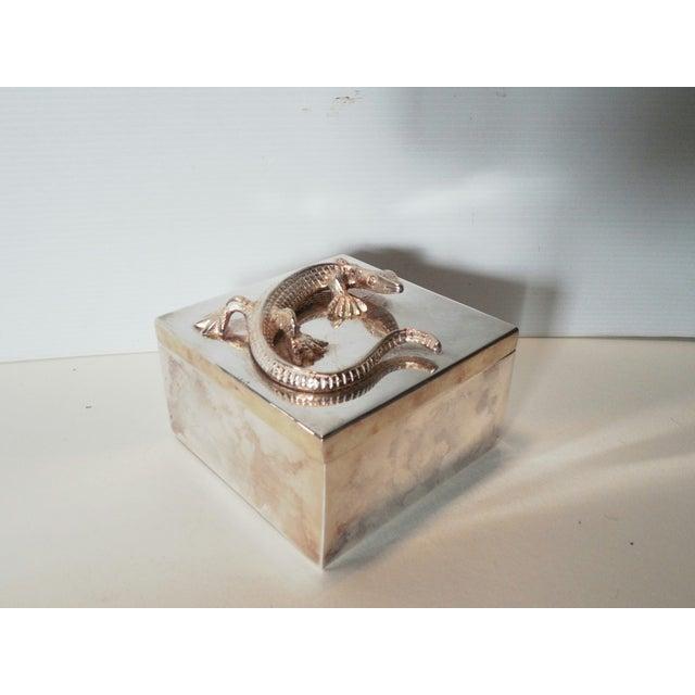 Silvered Metal Lizard Box - Image 4 of 6