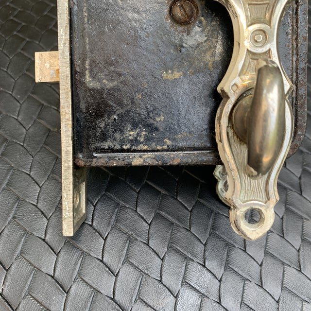 American Antique Mortise Door Lock With Crystal Clear Glass Door Knobs For Sale - Image 3 of 11