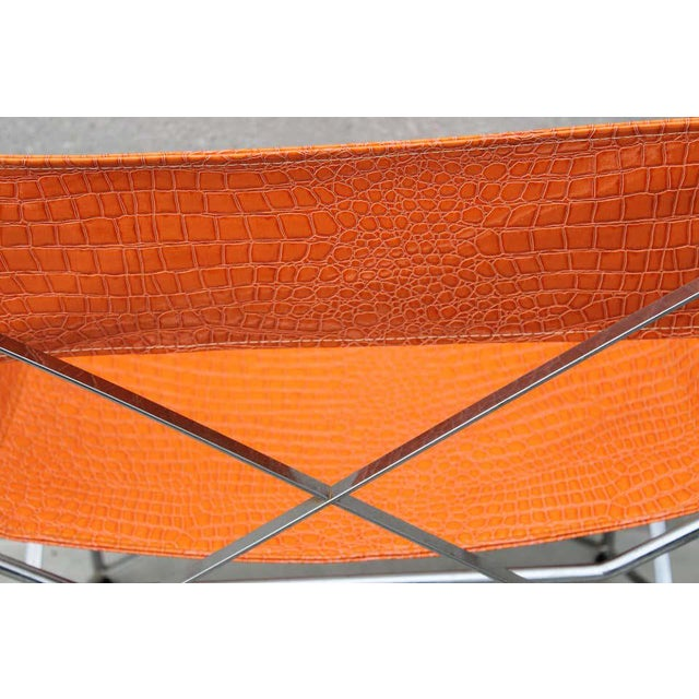Metal Faux Alligator Orange Chairs- A Pair For Sale - Image 7 of 8