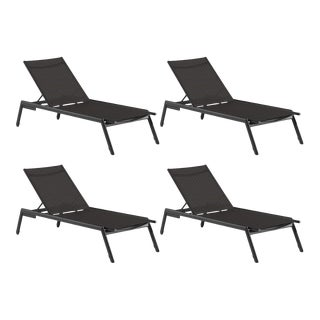 Armless Outdoor Chaise Lounge, Set of 4 For Sale