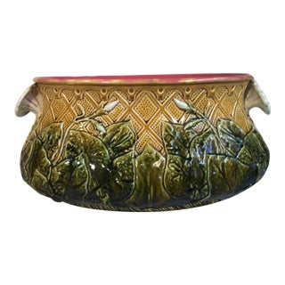 Large French Majolica Morning Glory Jardinière, Circa 1880 For Sale