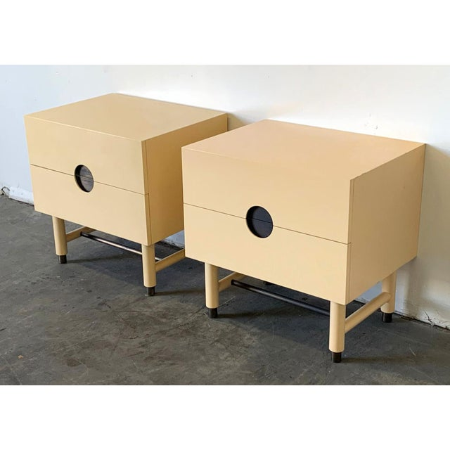 Lawson-Fenning Lawson Fenning Niguel Brass and Lacquered Nightstands - a Pair For Sale - Image 4 of 12