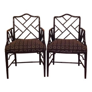 Chinese Chippendale Style Faux a Bamboo Chairs - A Pair