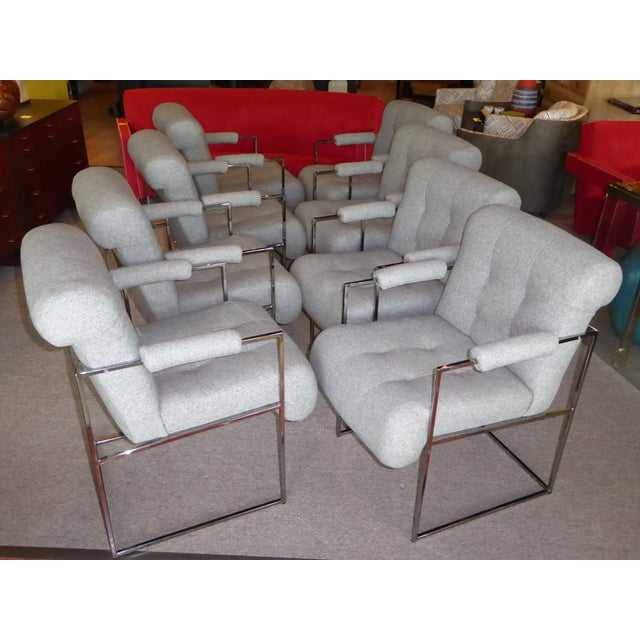 Eight Plush Modern Milo Baughman Thin Line Armed Dining Chairs - Image 4 of 11