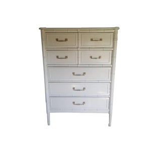 White Dresser Highboy Faux Bamboo by Henry Link Bali Hai For Sale