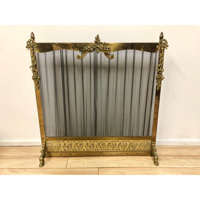 French Louis XVI Ornate Vintage Brass & Sliding Iron Mesh Fireplace Screen For Sale - Image 9 of 9