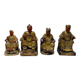 Asian Men Painted Wooden Figures - Set of 4 For Sale