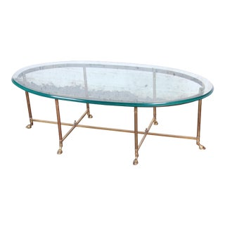 Labarge Midcentury Hollywood Regency Brass and Glass Hooved Feet Coffee Table For Sale
