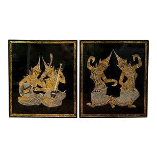 Pair, Mid Century Black Silk, Hand Painted Thai Art