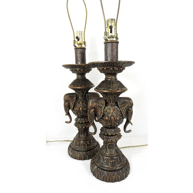 Vintage Anglo Indian Bronze Style Patinated Elephant Table Lamps - a Pair For Sale - Image 4 of 8