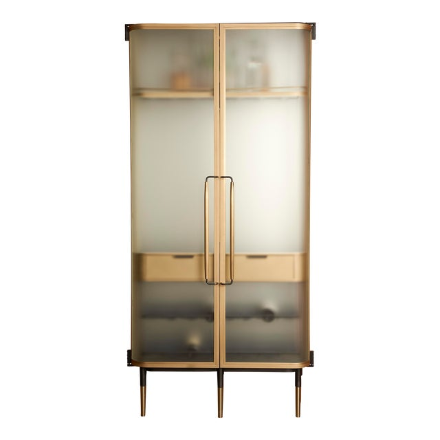 Plano Bar Cabinet in Bronze, Curved Glass Doors, Waxed Leather Bottle Slings For Sale