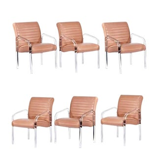 Lucite and Leather Lounge Chairs Designed by Leon Frost for Lion in Frost, Signed in Lucite For Sale