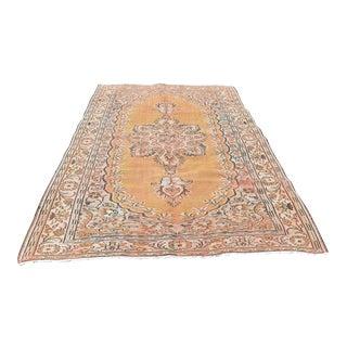 6x9 Ft 1960s Vintage Handmade Turkish Oushak Rug Floral Design Handwoven Orange Color Area Wool Rug For Sale