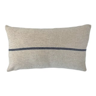 Italian FirmaMenta Eco-Friendly Blue and Brown Stripes Cream Wool Lumbar Pillow For Sale