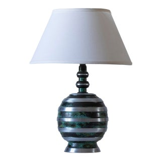 Early 20th Century John Maurd Swedish Early Modernist Art Deco Patinated & Polished Metal Table Lamp For Sale