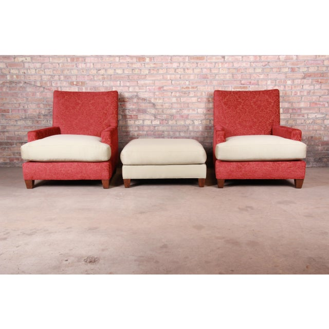 Baker Furniture Contemporary Oversized Down-Filled Lounge Chairs and Ottoman For Sale - Image 9 of 13
