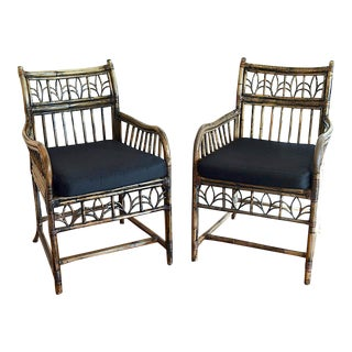 Chinoiserie Burnt Bamboo Armchairs - A Pair