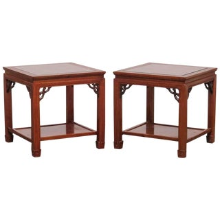 Chinese Carved Rosewood Side or End Tables - a Pair
