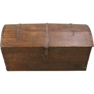 Antique 1820 French Oak Trunk Original Iron For Sale