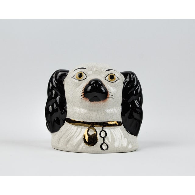 Boho Chic 19th Century English Traditional Staffordshire Ceramic Dog Head Money Bank For Sale - Image 3 of 11