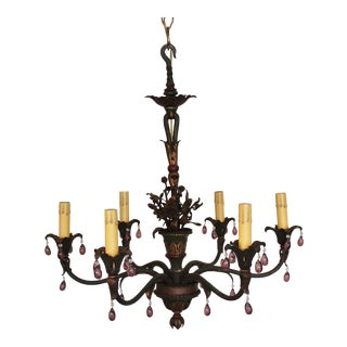 1930s French Painted Chandelier For Sale