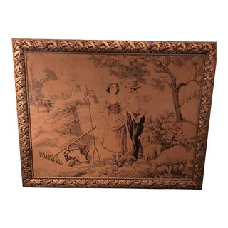 Antique Framed French Tapestry For Sale