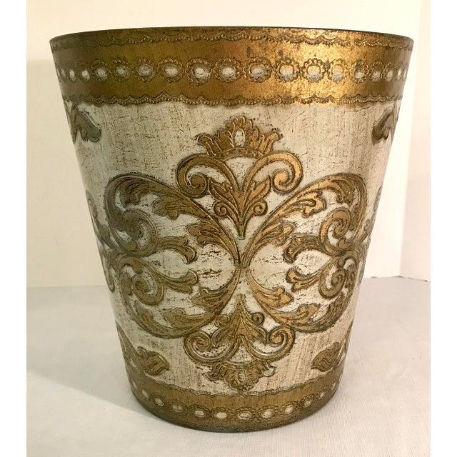 Italian 20th Century Italian Florentine Waste Basket For Sale - Image 3 of 8
