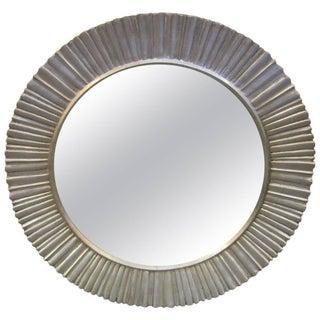 Large Mid-Century Modern Hand Carved and Silver Leaf Soleil / Sunburst Mirror For Sale