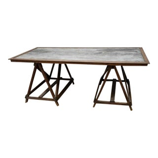 C.1900 French Industrial Work Table For Sale
