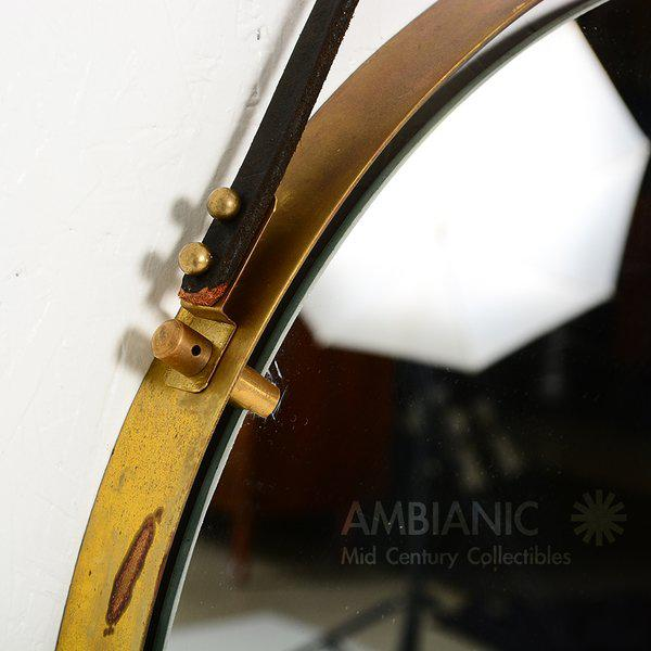 Gold Brass Wall Hanging Mirror For Sale - Image 8 of 9