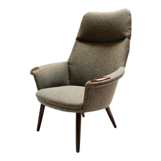 Mid-Century Modern Tall-Back Lounge Chair, Newly Reupholstered For Sale