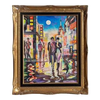 Erik Freyman, Night Stroll, Acrylic For Sale