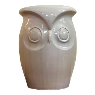 Cream Ceramic Owl Garden Stool For Sale