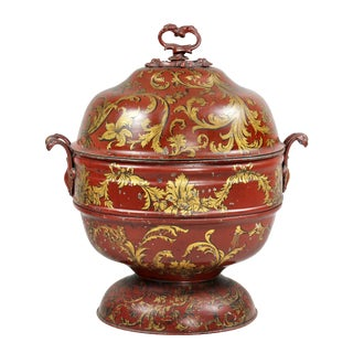 Early Victorian Red Tole Ware Coal Scuttle For Sale
