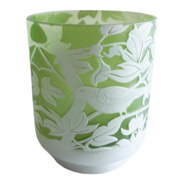 Global Views Emma's Bird Green Glass Vase For Sale