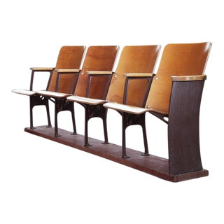 Bentwood Mid Century Modern 4 Seater Theater Style Seating For Sale