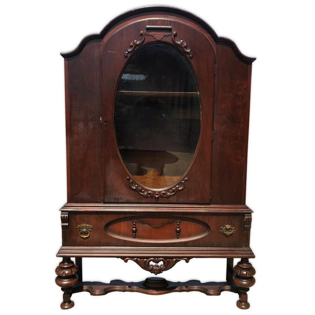 Exceptional Antique Victorian Carved Mahogany China Curio Bookcase Cabinet For Sale - Image 11 of 11