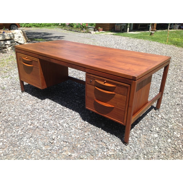 Jens Risom Walnut Executive Desk - Image 2 of 10