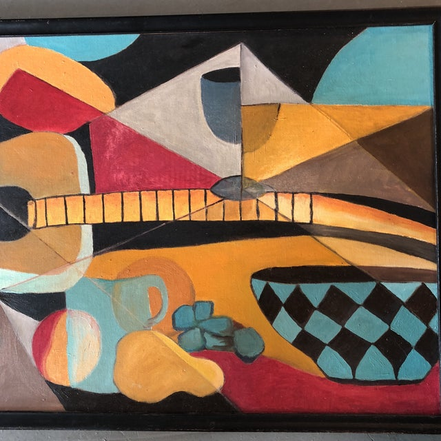 Abstract Vintage Original Modernist Still Life Mid Century Painting For Sale - Image 3 of 7