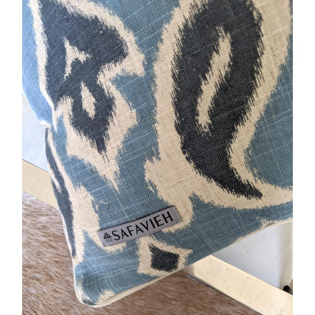 2010s Muted Blues Ikat Pillows - A Pair For Sale - Image 5 of 6